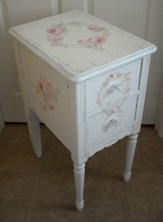 Antique Roses Nightstand-End Table by Debi Coules