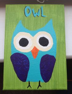 Owl canvas painting Childrens nursery art Small by TheKnottedTable, $9.99