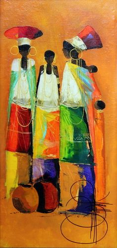 Ladies by Ndabuko Ntuli, Oil on canvas #africanart #art #painting #akwaabaart
