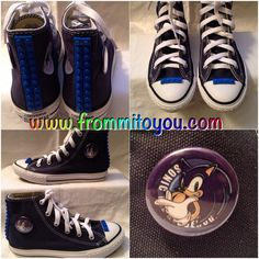 Custom Converse Sonic the Hedge Hog Junk Chucks with royal blue Lego's for a boy. Order www.frommitoyou.com Hedge Hog, Custom Converse, Shoe Art, Converse Chuck Taylor, Royal Blue, Kicks, Boys, Sneakers, Shopping