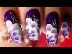 Nail art one stroke douce fleur violette / One stroke nail art sweet purple flower