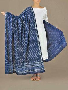 Beautiful dupatta(stole) dyed in organic indigo dye..using.traditional Indian methods