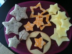 Day 4, sun moon stars. Get a star cookie cutter and the possibilities are endless—cheese, sandwiches, cookies, etc.