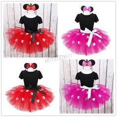 Criança Bebê Crianças Meninas Minnie Mouse Festa Fantasia Ballet Tutu Vestido + Tiara