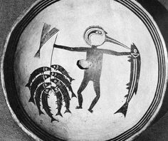Fisherman with bird bill and caught fishes Native American Design, Native American Pottery, American Indian Art, Pottery Painting, Ceramic Painting, Ceramic Art, Pottery Patterns, Pottery Designs, Pueblo Pottery
