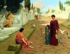 John William Godward / Outside The Gate Of Pompeii