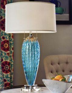 blue venetian glass lamp