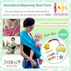 International Babywearing Week Promo: October 5 -11, 2015 Buy any sling on our website and receive a silicone dummy clip and teething toy for FREE! (Excluding sale items)  Save $20 OFF!!! Hurry, it's only available for a limited time.   http://myticketsupply.com/coupon/international-babywearing-week-buy-any-sling-and-get-a-free-clip-and-teething-toy   #jazslingsbabyslings #babywearing #babyslings #slings #sale #discount #promo #deals