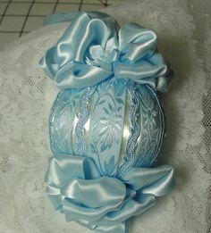 Stunning Baby Blue Satin Christmas Tree Ornament Handmade One-of-a-Kind