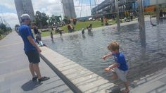 Paddle pools at Silo Park in Viaduct Auckland city.