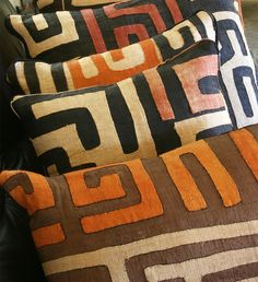 African Kuba Cloth Pillows bring natural beauty and rich color to your home.