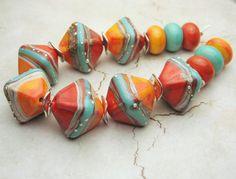 Handmade Lampwork Glass Bead Set  Chunky by StoneDesignsbySheila, $60.00