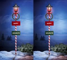 2 Holiday Solar Powered Lamp Post Outdoor Wreath & Bow Lighted Candy Cane Stripe Yard Decor