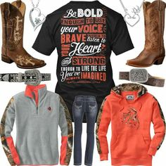 Be Bold, Brave & Strong Hot Coral Outfits – Real Country Ladies Camo Girl Outfits, Funny Outfits, Teenager Outfits, Cute Outfits, Coral Outfits, Country Style Outfits, Country Girl Style, My Style, Cute Cowgirl Boots