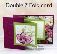 Double Z Fold Card idea featuring Stampin' Up! Petal Promenade paper and the Lovely Floral Embossing Folder. Swap card received at OnStage. Z Cards, Fun Fold Cards, Pop Up Cards, Folded Cards, Stampin Up Cards, Joy Fold Card, Greeting Cards, Karten Diy, Shaped Cards