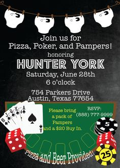 Poker and pampers shower invitation by pumpkinseedpaperie on etsy man shower, baby shower for men Baby Shower For Men, Man Shower, Baby Shower Games, Shower Baby, Diaper Shower, Baby Showers, Gambling Games, Gambling Quotes, Casino Theme Parties