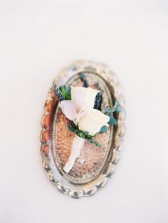 lavender and white boutonniere