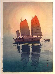 Hiroshi Yoshida (1876-1950) Title: Sailing boats: morning Size: 50.8 x 35.9 cm (double ōban) Shin Hanga prints http://jacquesc.home.xs4all.nl/pages/HiroshiYoshidanew.htm