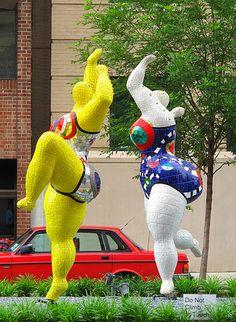Mosaic Sculptures by Niki de Saint Phalle, New York Avenue, Washington, DC  #Mosaic #Sculpture #Nike de Saint Phalle #Women fun!!!