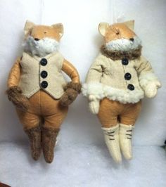 Pair of Plush Woodland Fox Christmas Tree Ornaments Fox Ornaments, Christmas Tree Ornaments, Woodland, Plush, Teddy Bear, Pairs, Toys, Animals, Activity Toys