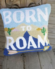 the born to roam hooked pillow measures and is perfect for your camp house, lake house, camper, bedroom, or your couch! Boho Glam Home, Hippie Home Decor, Gothic Home Decor, Down Pillows, Bed Pillows, Southwestern Bedroom, Train Bedroom, Junk Gypsies Decor, Glam Camping
