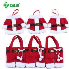 6Pcs/lot Christmas Decorations 2016 Silverware Holdersanta  Pockets Dinner Decor Knife Fork Holders Santa Claus Merry Christmas