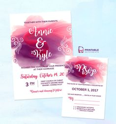 Free PDF Download for DIY Wedding Invitations - Watercolor Splash Wedding Invitation and RSVP