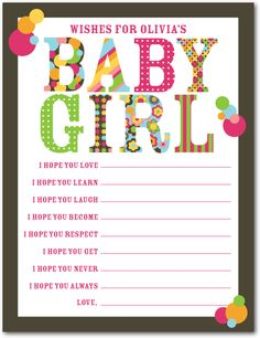 Tinyprints card for girl baby shower games