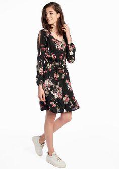 Lola Liza off schoulder dress jurk black zwart floral print bloemen print