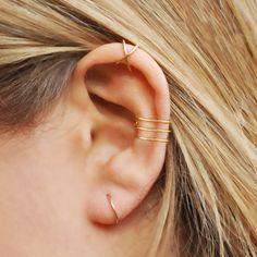 Three Line Ear Cuff Gold Filled No Piercing Fake Conch Earring Ear Cuff Cartilage Cuff Fake Piercing Minimalist Ear Cuff earcuff Jewelry Fake Piercing, Septum Piercing, Cute Ear Piercings, Piercings For Girls, Cool Peircings, Conch Earring, Cartilage Earrings, Stud Earrings, Ear Jewelry