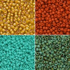 "Exclusive Beadaholique Toho Seed Bead Palette, Round 11/0, 32 Grams, Sundance Escape Toho Color Names: ""Jonquil/Apricot Lined"" (Color Code: 302), ""Semi Glazed Orange"" (Color Code: 2611F/c), ""Opaque Frosted Turquoise"" (Color Code: #55F), ""Hybrid Turquoise Picasso"" (#Y307)."