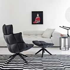 Husk H3M Swivel Armchair with Snug Sides and Headrest by B