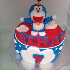 Doraemon cake - Cake by Micol Perugia Doraemon Cake, Nutella, Chocolate Cake, Fondant, Birthday Cake, Cakes, Desserts, Food, Chicolate Cake