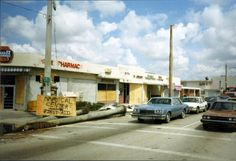 Street scene showing sign pointing to location of the medical center for first aid following Hurricane Andrew in Homestead, Florida.