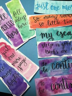 Hand painted and hand lettered watercolor bookmarks.- Hand painted and hand lettered watercolor bookmarks. Each will be a little diffe… Hand painted and hand lettered watercolor bookmarks. Each will be a little diffe… – - Creative Bookmarks, Diy Bookmarks, Bookmarks Quotes, Printable Bookmarks, Corner Bookmarks, Free Printable, Watercolor Bookmarks, Watercolor Cards, Watercolor Art