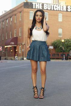 blue skater skirt, lace up heels, white tank