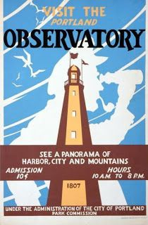 """Visit the Portland Observatory"""" Maine art Project by WPA c. Portland City, Portland Maine, Custom Posters, Vintage Posters, Amsterdam, Poster Creator, Works Progress Administration, Camping Activities, Advertising Poster"""
