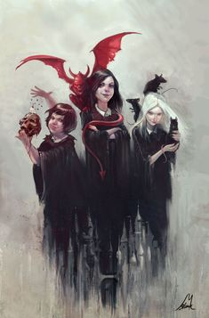 This is dot and Hester and andil from the school for evil! I recommend u to read the school for good and evil because once you start reading it u can't stop and I bet u will love it! Book Characters, Fantasy Characters, Character Inspiration, Character Art, Three Witches, Evil Girl, Evil Witch, Ange Demon, Fan Art