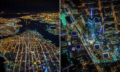 Mesmerizing 'tilt-shift' photographs taken  over New York at night capture a minature city of light