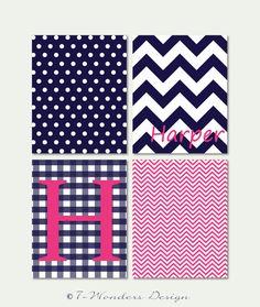 "Girls Tweens Personalized Wall Art Print Set Bedroom Decor // Pink and Navy Blue // Print Set of (4) - 8"" x 10"" // Girls Bedroom Fine Art"