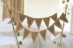 Happy Birthday Cake Topper Baker Banner in tea dyed cotton.