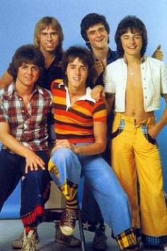 The Bay City Rollers, from clockwise- Eric Faulkner, Derek longmuir, Les McKeown, Ian Mitchell, and Woody Wood.