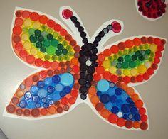 Group bottle cap art