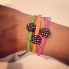 Charcoal ball macramé braceletany color by AroundMyWrist on Etsy, $10.00