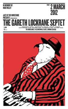 The Gareth Lockrane Septet Poster lino-bock poster designed and hand printed (on an old proofing press) for a one-off jazz evening held in London in jpg Graphic Design Poster Book Design, Layout Design, Design Art, Type Design, Creative Posters, Cool Posters, Poster Ads, Editorial Layout, Grafik Design