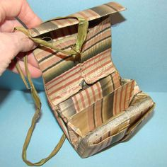 """1800s Silk Sewing Needle Book Case Roll Up Needles Pins Thread Provenance Museum   eBay seller njsdolls, mid 1800s, museum de-accession, hand stitched, base of heavy paper; 4-1/4"""" long, 3-1/2"""" side, 1-1/4"""" thick"""
