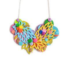 Círculo collar declaración, hoja flor arco iris babero, mano encaje corte enrejado geométrico collar, joyería colorida declaración