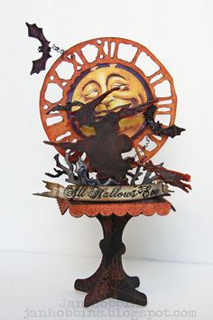 Sizzix Design team member Jan Hobbins created this amazing Halloween decor piece by combining dies by @Tim Holtz and @Eileen Hull.  She shares the instructions on our blog: http://sizzixblog.blogspot.com/2012/09/halloween-ornament-on-stand.html #graphic45