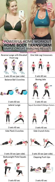 Powerful Home Workout! Transform Your Body from Your House! Simple Circuit, Amazing Results is part of Fitness - Try these killer exercises at the comfort of your own home!Reverse Lunge With Elevated Front LegYou can also v Full Body Workouts, Fitness Workouts, Fitness Diet, At Home Workouts, Health Fitness, Circuit Workouts, Workout Diet, Cardio, Motivation Yoga