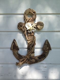 Driftwood Seashell Anchor/Nautical Home Decor ~by My Honeypickles